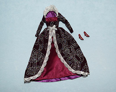 DEEP PURPLE Burgundy Holiday Winter BARBIE Gown w/ Silver Accents & Heels