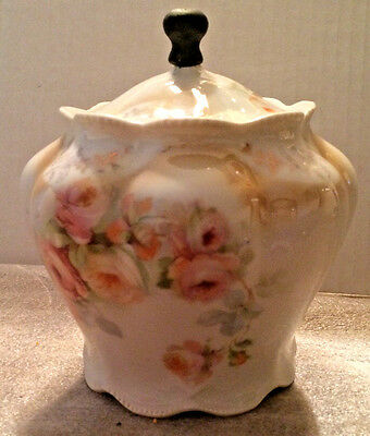 Biscuit Jar Made in Germany Pink Florals with Unusual Wooden Knob Handle