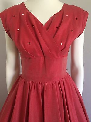 Orginal Vintage 50s Beaded Cocktail Party Dress , Rockabilly Dress , Pinup