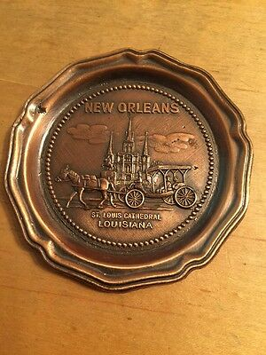 Vintage Bronze Coaster New Orleans Louisiana St Louis Cathedral Horse & Carriage