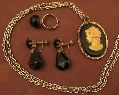 antique Victorian black stone glass brass ornate earring necklace cameo ring set