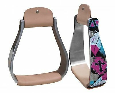 Showman Holographic Cross & Feather Print Western Horse Saddle Stirrups! TACK!