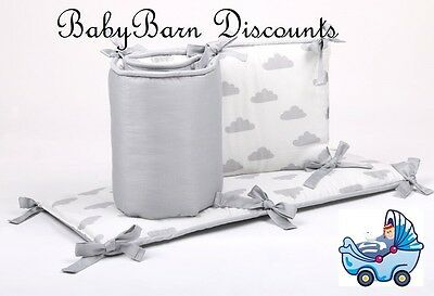 NEW The Peanut Shell Clouds Cot Bumper in Grey from Baby Barn Discounts