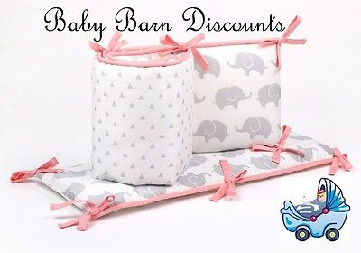 The Peanut Shell Cot   Bumper Grey Elephant & Triangles with Coral Trim