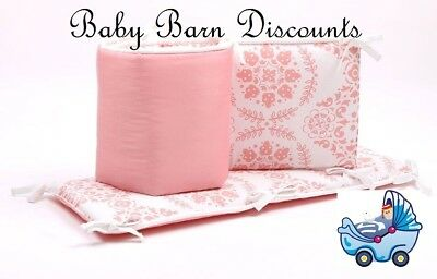 NEW The Peanut Shell Medallion Cot Bumper in Coral from Baby Barn Discounts