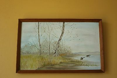 Mid century Painting on fabric. Classic Frame. Signed S. Walls.
