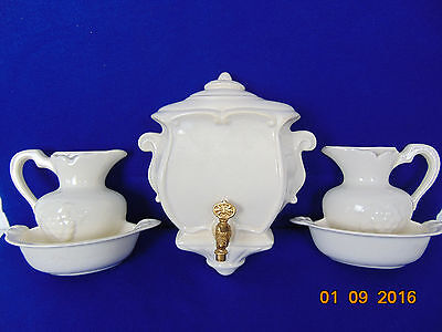 Vintage wall pocket 3 pc large bowl and pitcher off white