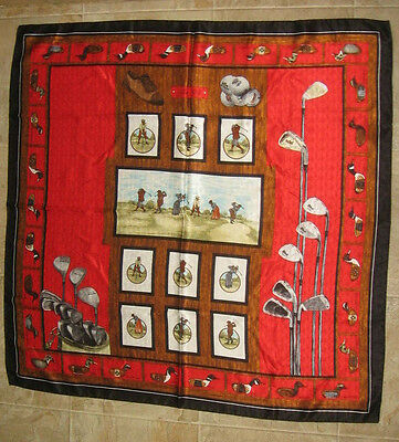 Scarf 100% silk made in Italy GOLF & DUCKS red-black-browns