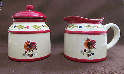 Creamer and Sugar Bowl with Rooster AVON Country style kitchen dining coffee tea