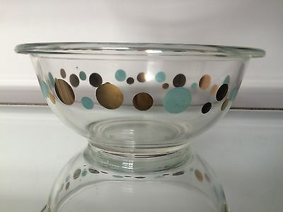 Pyrex Atomic Gold And Turquoise Bowl