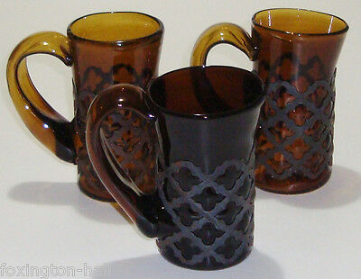 3 Hand Made Gothic/medieval Style Metal&amber Glass Beer Mugs