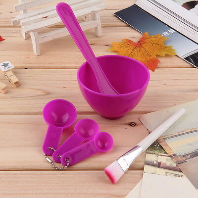 New 4 in 1 DIY Facial Mask Mixing Bowl Brush Spoon Stick Tool Face Care Set AU