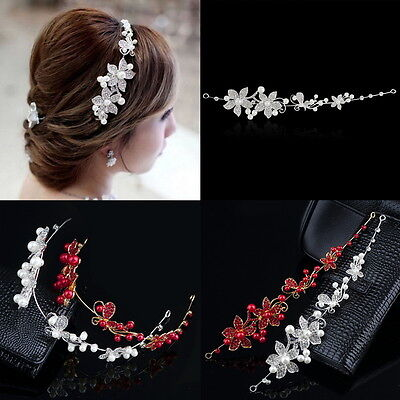 Crystal Rhinestone Faux Pearl Flower Party Bridal Headband Hair Band Tiara AU