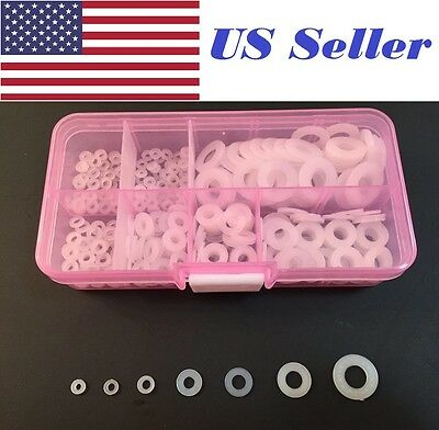 350Pcs /Lot Nylon Flat Washer Assortment Kit, m2,m2.5,m3,m4,m5,m6,m8 Screw/Bolt