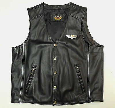 HARLEY DAVIDSON 100th ANNIVERSARY LEATHER VEST 97403-03VM MEN LARGE LG *NICE 201