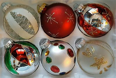 6 x Hand Painted Christmas Tree Glass Baubles Decorations - Mixed Selection NEW