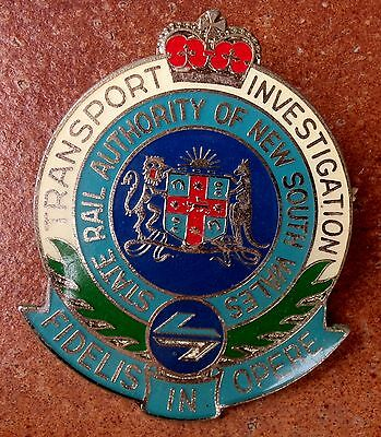 Obsolete Nsw State Rail Authority Transport Investigation Badge Police Railway