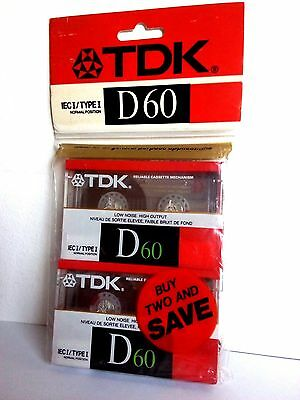 CASSETTE TAPES BLANK SEALED - pack of 2 (two) TDK D 60 [1988] tape made in Japan
