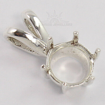 8mm Round Semi Mount Beautiful Women's Pendant 925 Solid Sterling Silver Jewelry