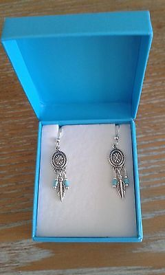 South Western Silver Turquoise Feather Earrings