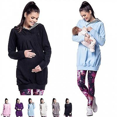 Zeta Ville -Women's Maternity Nursing Long Hooded Sweatshirt Zip Cut-outs - 311c