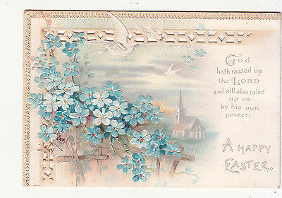 A Happy Easter God Hath Raised Up the Lord Trellis Church Victorian Card c 1880s