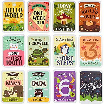 3-in-1 Baby Journal Gift Set - Milestone Baby Cards in Keepsake box with chart.