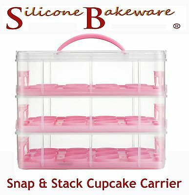 Snap and Stack Pink 3 Tier Cupcake Holder & Cake Carrier Container