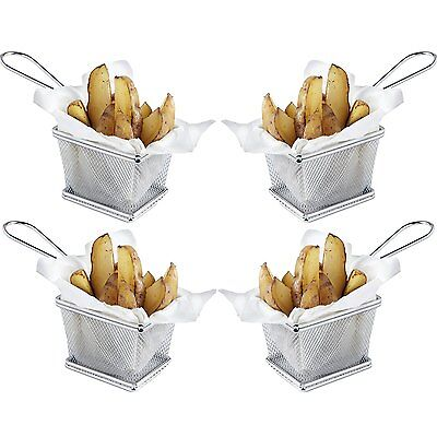 Mini Chrome Chip Serving Fry Basket Set of 4 - Ideal for Chips, Fries, Wedges, O