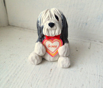 Bearded Collie Valentine Clay Sculpture DOG collectible by Raquel Torres