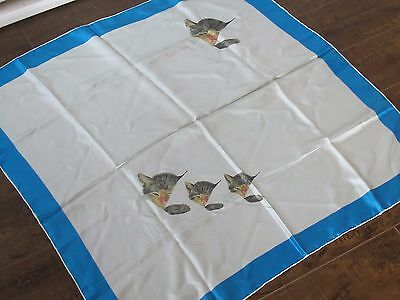 Chessie Systems Sleeping Kittens Cat Silk Scarf Lady Heritage Blue Vintage C&O