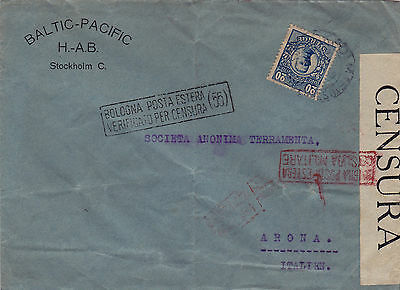 Sweden : Baltic-Pacific H-Ab Cover To Italy, Opened By Italian Censor (1919)