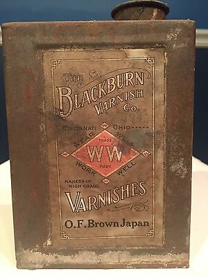 Very Rare Blackburn Varnish Company Metal Advertising Oil Can Japan Dryer