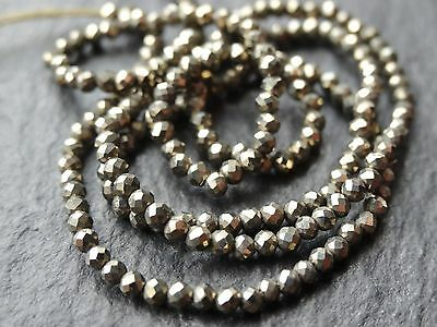 """1.9mm TINY MICRO FACETED PYRITE RONDELLES, 13"""", 180 beads"""