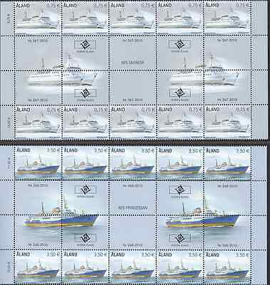 ALAND - 2010 - Ferries (II). Gutter pair strips, 2 x 10v. Mint NH