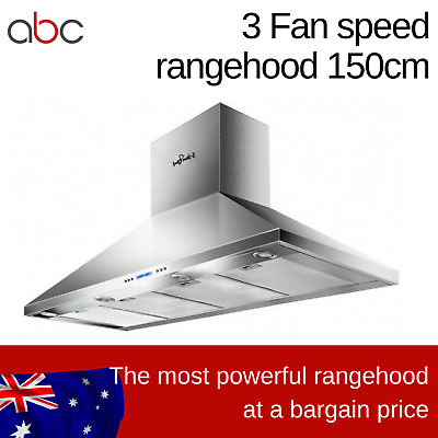 3 Speed Fan Range Hood BBQ Commercial Kitchen Canopy Rangehood Exhaust 1500mm
