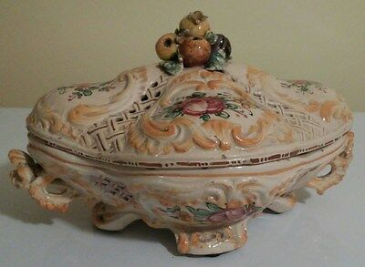 Capodimonte Serving Dish with Lid - c.1930 - Made in Italy