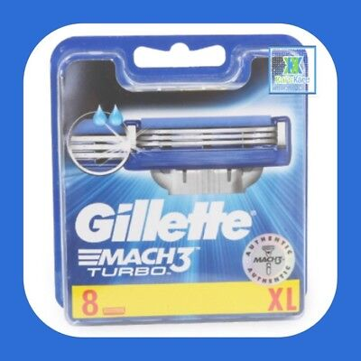 Gillette Mach3 Turbo Replacement Blades 8 Pack - 100% Genuine - BRAND NEW