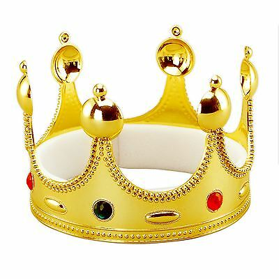 Kids Adults King Queen Gold Crown Royal Wedding Gemstone Fancy Dress Accessory