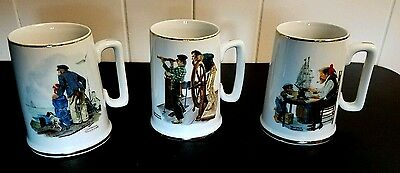 Norman Rockwell Museum Collection Set Of 3 Coffee Cups Mugs 1985 Nautical Ships