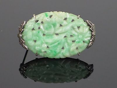 """Art Deco Chinese Carved """"Moss In Snow"""" Natural Jadeite Jade Pin/Brooch, 7.3g"""