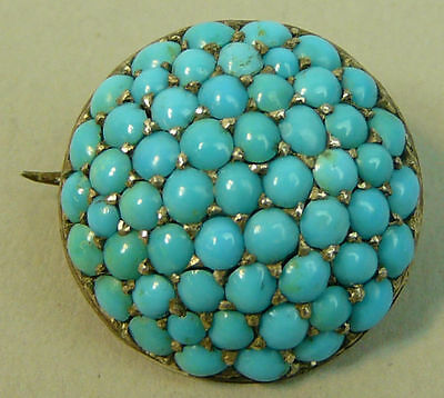 A Fine Victorian 15K Gold (Tested) Turquoise Brooch C.1880 - 4 Grams
