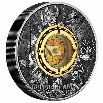 Perth Tuvalu 2017 Compass $2 2 Oz Pure Silver High Relief Antique Antiqued Proof