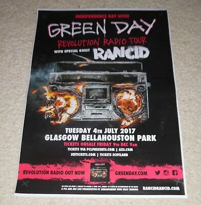 Green Day CONCERT POSTER - july 2017 UK live music show gig tour poster