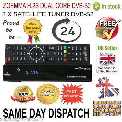 Zgemma H.2S Dual Core Satellite Receiver Dvb-S2 Twin Tuner Free To Air