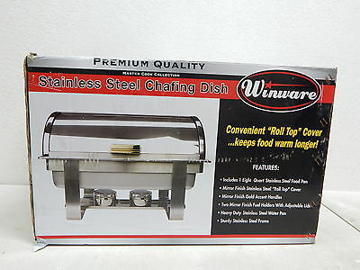 Winware C-5080 8 Qt Stainless Steel Roll-Top Chafer, Gold Accent BOX DAMAGE