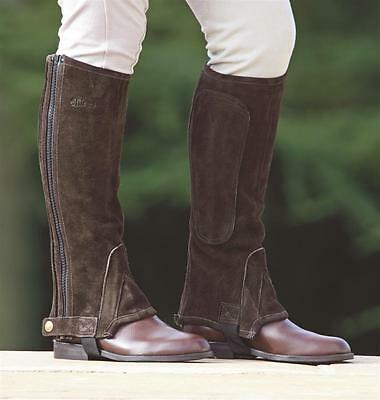 Shires adults quality suede half chaps horse riding black / brown