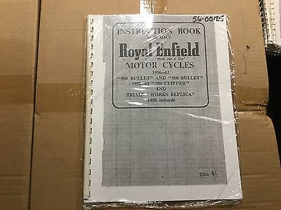 Royal Enfield 1956-62, 350/500 Bullet, 350 Clipper Instruction Book 185