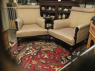 Pair Of Edwardian Arm Chairs With Solid Dark Wood Frame On Original Casters
