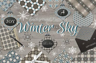 Winter Sky Holiday Christmas Background Paper on CD - Digital Scrapbooking Paper